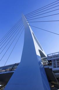 湾岸線を渡り東京テレポート駅とお台場海浜公園駅を結ぶるテレポートブリッジの写真素材 [FYI04777161]