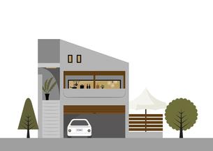 グレーのコンクリート階段の家 イラストのイラスト素材 [FYI04777163]