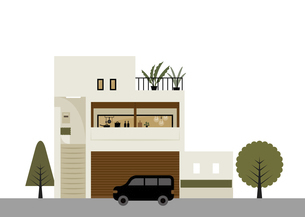 白い壁の三階建の家 イラストのイラスト素材 [FYI04777164]