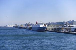有明埠頭の貨物船(ゆりかもめ線 青海駅前 水の広場公園から)の写真素材 [FYI04777225]
