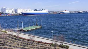 有明埠頭の貨物船(ゆりかもめ線 青海駅前 水の広場公園から)の写真素材 [FYI04777228]