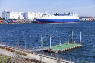 有明埠頭の貨物船(ゆりかもめ線 青海駅前 水の広場公園から)の写真素材 [FYI04777230]