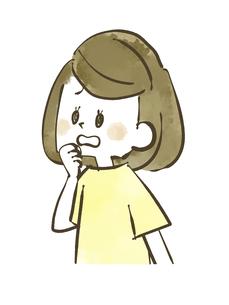 心配・動揺する女性-水彩のイラスト素材 [FYI04777316]