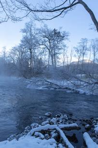 北海道 阿寒郡阿寒町の樹氷と気嵐の写真素材 [FYI04777509]