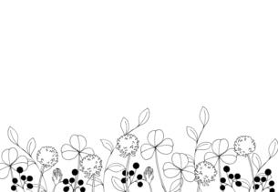 草花の線画 手描きイラストのイラスト素材 [FYI04777688]