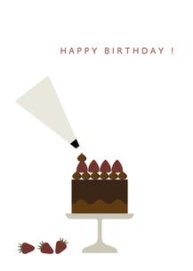 チョコレートケーキ 誕生日カードのイラスト素材 [FYI04777890]