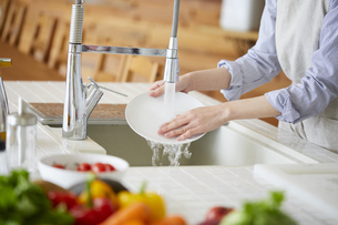 お皿を洗う女性の手元の写真素材 [FYI04777997]