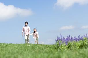 手をつないで歩く親子の写真素材 [FYI04778126]