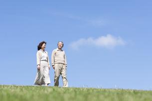 芝生を歩くシニア女性の写真素材 [FYI04778239]