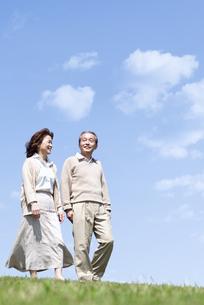 芝生を歩くシニア女性の写真素材 [FYI04778240]