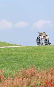 青空と芝生と車椅子の写真素材 [FYI04778271]