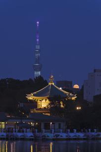 中秋の名月 不忍池辯天堂と東京スカイツリーライトアップの写真素材 [FYI04778347]