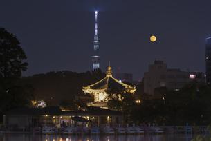 中秋の名月 不忍池辯天堂と東京スカイツリーライトアップの写真素材 [FYI04778351]