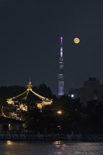 満月と不忍池辯天堂と東京スカイツリーライトアップの写真素材 [FYI04778357]