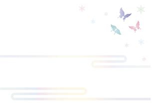 胡蝶と雪の結晶 イラスト 切り絵のようなデザイン 寒中お見舞い 背景素材のイラスト素材 [FYI04778503]