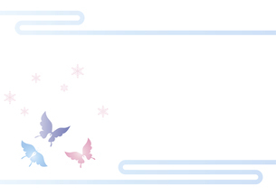 胡蝶と雪の結晶 イラスト 切り絵のようなデザイン 寒中お見舞い 背景素材のイラスト素材 [FYI04778504]