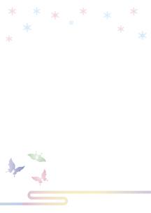 胡蝶と雪の結晶 イラスト 切り絵のようなデザイン 寒中お見舞い 背景素材のイラスト素材 [FYI04778505]