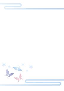 胡蝶と雪の結晶 イラスト 切り絵のようなデザイン 寒中お見舞い 背景素材のイラスト素材 [FYI04778506]
