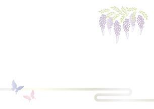 胡蝶 アゲハチョウと藤の花の切り絵風デザイン 背景素材 イラストのイラスト素材 [FYI04778507]