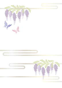 胡蝶 アゲハチョウと藤の花の切り絵風デザイン 背景素材 イラストのイラスト素材 [FYI04778509]