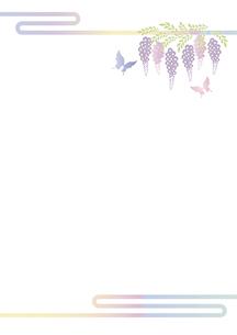 胡蝶 アゲハチョウと藤の花の切り絵風デザイン 背景素材 イラストのイラスト素材 [FYI04778510]