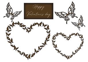 胡蝶のデザインのバレンタインデー素材 イラストセット ハートの形に並んでいるアゲハチョウのイラスト素材 [FYI04778574]