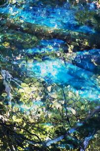 青く光る湖底と日差しに煌めく水面の背景素材用写真の写真素材 [FYI04778913]