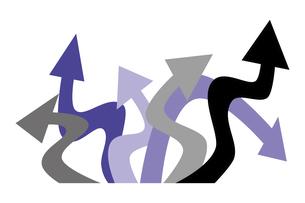 曲がった矢印 黒と紫の写真素材 [FYI04779068]