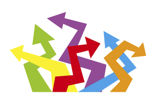 ジグザグに曲がったカラフルな矢印のイラスト素材 [FYI04779069]