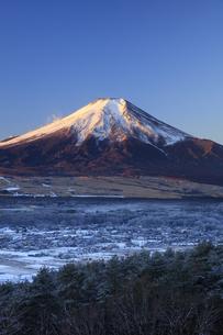 降雪後の忍野村と富士山の写真素材 [FYI04779239]