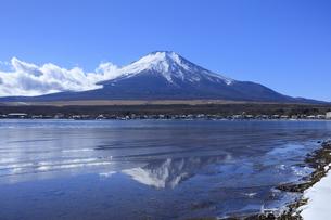 冬の山中湖と富士山の写真素材 [FYI04779262]