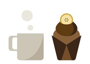 バナナチョコレートマフィンとマグカップのイラスト素材 [FYI04779434]