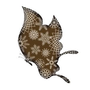 バレンタインデー素材 アゲハチョウの形のチョコレート 胡蝶と雪の結晶のデザイン イラストのイラスト素材 [FYI04779770]