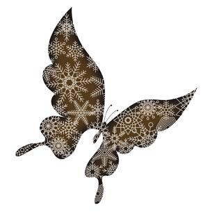 バレンタインデー素材 アゲハチョウの形のチョコレート 胡蝶と雪の結晶のデザイン イラストのイラスト素材 [FYI04779771]