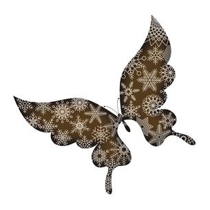 バレンタインデー素材 アゲハチョウの形のチョコレート 胡蝶と雪の結晶のデザイン イラストのイラスト素材 [FYI04779772]