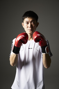 ボクシングで構える男性の写真素材 [FYI04780387]