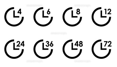 時計アイコンの時間バリエーションセットのイラスト素材 [FYI04780500]