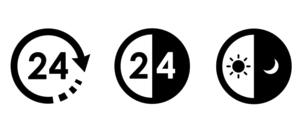 24時間アイコンのバリエーションセットのイラスト素材 [FYI04780501]