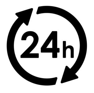 矢印と円形による24時間アイコンのイラスト素材 [FYI04780502]