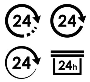 矢印と円形による24時間アイコン バリエーションセットのイラスト素材 [FYI04780503]