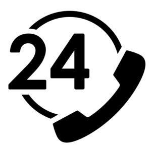 24時間コールセンターの電話マークのイラスト素材 [FYI04780593]