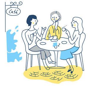 カフェでお茶をする3人の女性のイラスト素材 [FYI04780634]