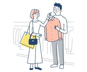 洋服の買い物を楽しむカップルのイラスト素材 [FYI04780635]