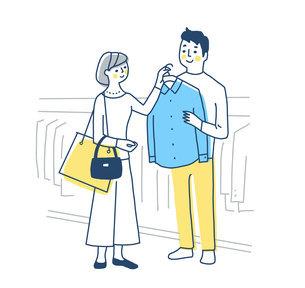 洋服の買い物を楽しむカップルのイラスト素材 [FYI04780636]