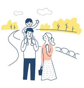 子供を肩車する父親と寄り添う母親のイラスト素材 [FYI04780637]