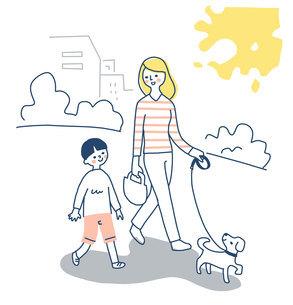 犬と散歩する親子のイラスト素材 [FYI04780639]