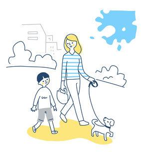 犬と散歩する親子のイラスト素材 [FYI04780640]