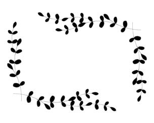 ナチュラルな葉っぱの線画イラストのイラスト素材 [FYI04780895]