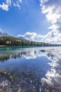 晩秋のオンネトー湖畔から雌阿寒岳・阿寒富士を望むの写真素材 [FYI04781179]