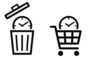 時計にゴミ箱と買い物かご 時間アイコンのイラスト素材 [FYI04781327]